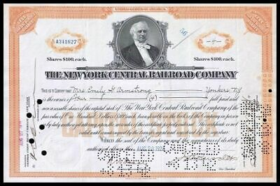 1928 New York Central Railroad 4 Share Stock Cert ORANGE  F+ Condition WYSIWYG