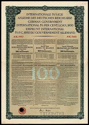 German First World War Reparations Bond 1930 Young Loan 100 Reichsmarks VF+