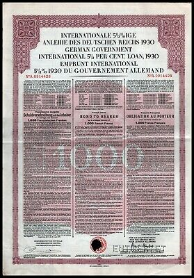 German First World War Reparations Bond 1930 Young Loan 1000 French Francs VF+