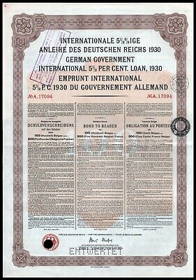 German First World War Reparations Bond 1930 Young Loan 500 Belgian Francs VF+