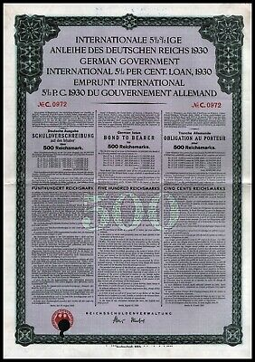 German First World War Reparations Bond 1930 Young Loan 500 Reichsmarks VF+