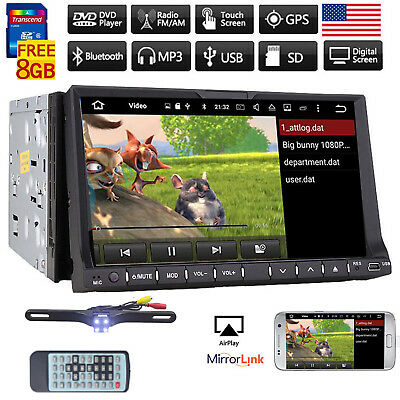 """Double 2DIN CD/DVD Player 7"""" GPS Navigation Bluetooth Car Stereo Radio with Map"""
