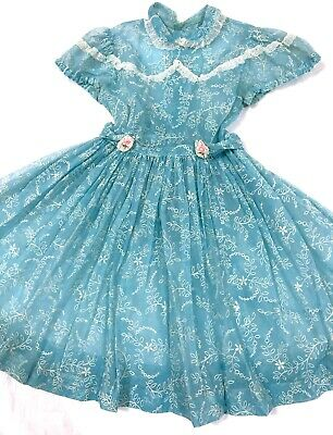 Vintage 1950's Girl's Party Dress Sheer Aqua Blue w/ Flowers & Lace Size 8? GUC