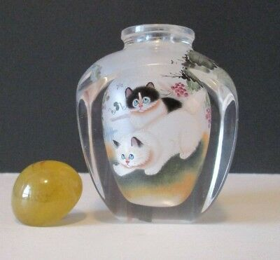 Chinese Handmade Inside Painting Cat- Kitty Glass Snuff Bottle