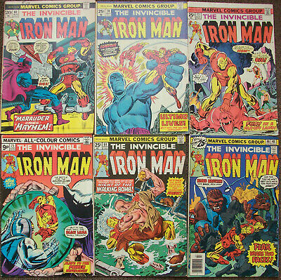 Iron Man 6 issue lot, issues 61, 70, 73, 75, 84, 88