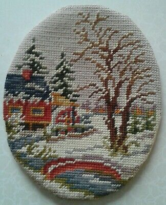 "Vintage Needlepoint Piece Completed Winter Scene 8.5"" X 6.75"" Oval Handmade"