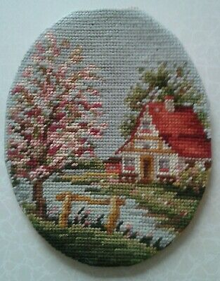 "Vintage Completed Needlepoint Piece Springtime Scene Cottage 8.5"" X 6.75"" Oval"