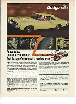 Original 1968 Dodge Coronet Super Bee Vintage Magazine Print Ad