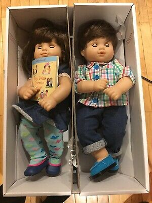 American Girl Bitty Baby Twins Boy & Girl Brunette With Outfit In Original Box