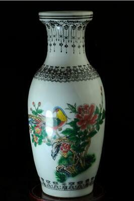 Chinese Old Hand-made Pastel Porcelain Birds & Flowers Vase /qianlong Mark C02