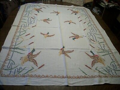 "Vintage Hand Embroidered Cross stitched Linen TABLECLOTH Wild Geese 67"" x 50"""