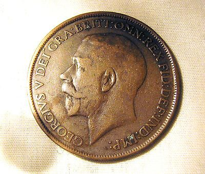 1912 Great Britian Large Penny, High Grade Bronze Coin