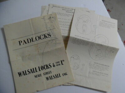 1950 Walsall Locks & Cart Gear Padlock Lock Catalog Brochure Lot British Vintage