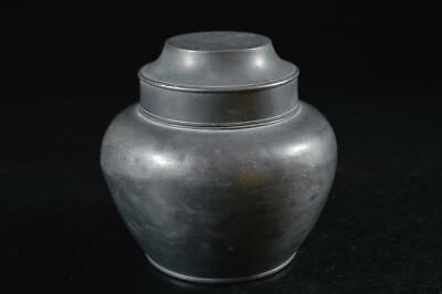 G7695: Japanese Old Tin Shapely TEA CADDY Chaire Container, Tea Ceremony