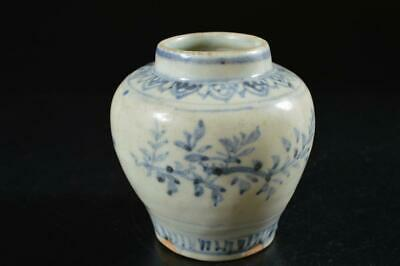 G7693: Chinese Blue&White Leaf pattern TEA CADDY Chaire Container Tea Ceremony