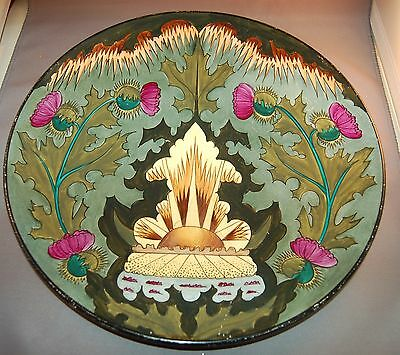 French Faience Art Deco Decorated Charger w/Scottish Theme! MAGNIFICENT!