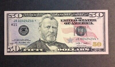 Uncirculated $50 STAR NOTE 2009 SERIAL NUMBER JK00424244☆