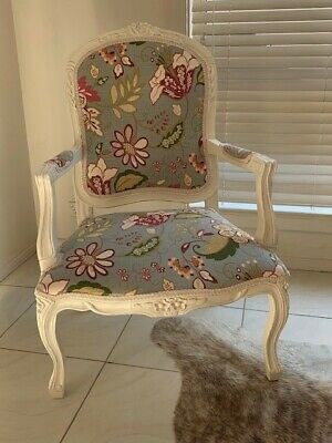 French Provincial Louis XV style Parlour Chair covered in Floral/cream braid