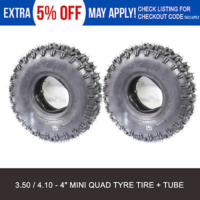 "2x 4.10 - 4"" inch Tyre Tire + Tube 47cc 49cc Mini Kids Quad Bike Buggy ATV"