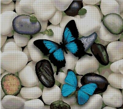 Butterfly and pebbles cross stitch pattern in pdf ANCHOR
