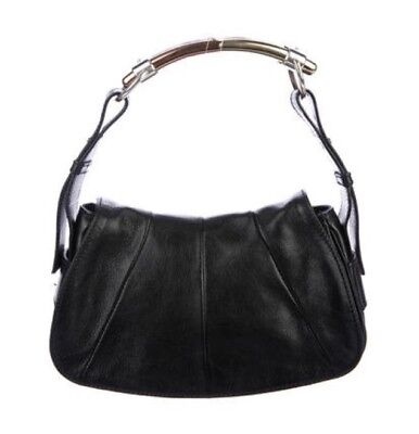 567d461e9b YSL Yves Saint Laurent Small Black Calfskin Leather Mombasa Shoulder Handbag