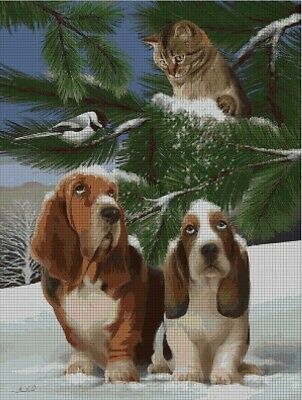 Cat and basset hounds cross stitch pattern in pdf ANCHOR