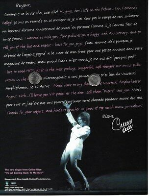 Celine Dion Promo Ad Magazine Full Page Rare Clipping Note Of Acknowledgement
