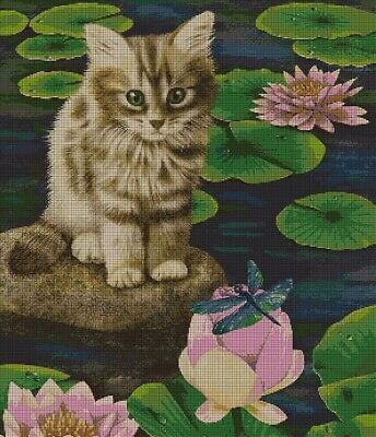 Cat by lake cross stitch pattern in pdf ANCHOR