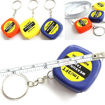 2x Small Portable Keychain Key Ring Easy Retractable Tape Measure Ruler 1m HA