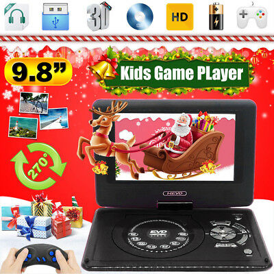 "9.8"" HD TV Portable 16:9 DVD Player 270° Swivel LCD Screen FM USB Car Charger UK"