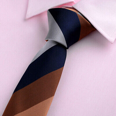 Men's Silk Necktie Slim Classic Tie Plain Jacquard Woven Party Skinny