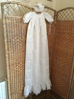 vintage christening dress & matching bonnet.