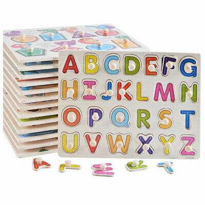 New Baby Toddler Jigsaw Kids Puzzle Alphabet Letters Animal Wooden Learning Toys