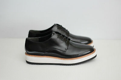 e0fe9f25a36 NEW Vince  Reed  Glazed Leather Platform Oxford Shoe - Black - Size 8M (