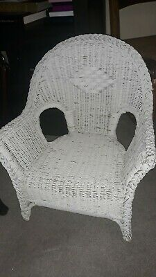 "Vintage Childrens Toddler 22"" White Wicker Chair"