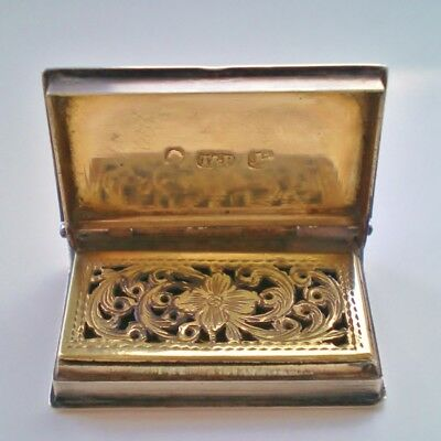 Fine Antique Georgian Sterling Silver Book Vinaigrette c1836 by Taylor & Perry
