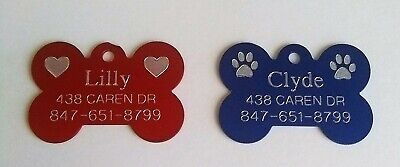 Custom Engraved Pet ID Tags for Dogs and Cats/Bone Shape and Round Shape