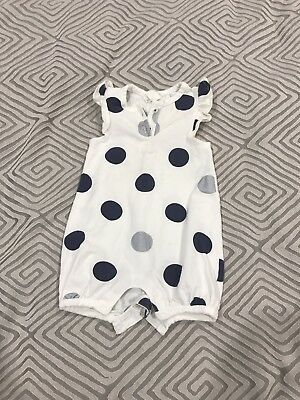 Country Road 000 Baby Romper Blue Silver Spot Dot
