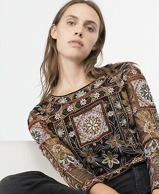 8ddce35b22c Zara New Embellished Beaded Long Sleeved Crop Top With Sheer Back Size  Medium