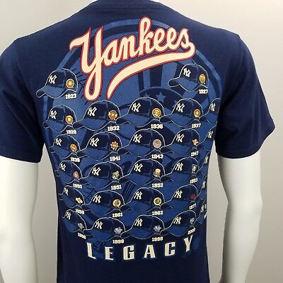 32edc8269f4 New York Yankees MLB World Series Legacy T-Shirt Baseball Hats MAJESTIC Sz S