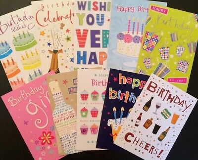10 Pack Variety Mixed Assorted Selection Of Birthday Cards And Envelopes