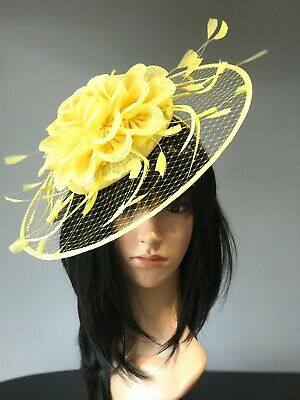 YELLOW WEDDING ASCOT Disc FASCINATOR Occasion HAT Mother Of The Bride FORMAL