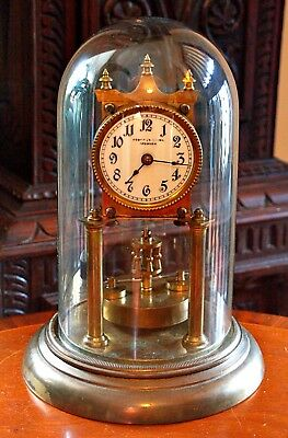 Antique 'Urania Clock Company' 400-Day Anniversary Clock in Glass Dome