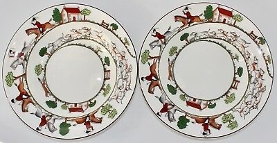 "Two Wedgwood Hunting Scenes Bone China 8"" Rim Soup Bowls Made In England Euc"