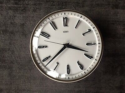 Vintage 1970s Metamec Wall Clock in White - New Battery Operated Movement