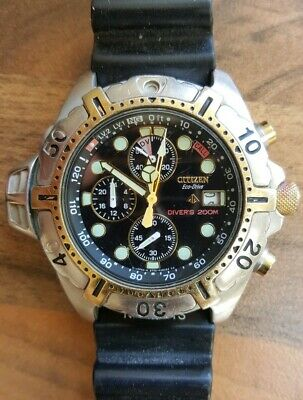 Citizen Eco Drive BJ2004-08E Promaster Aqualand Cal B740 Chronograph Diver Watch