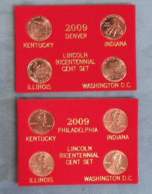 2009 Lincoln Bicentennial Penny 8 pc. Set. P&D Mint. Red Packaging