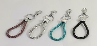 WOMEN'S KEYRING BAG CHARM Glitter Rope Style Diamante Detail Silver Tone Keychai