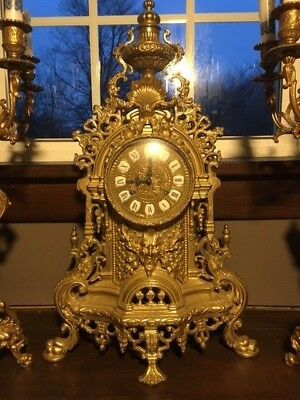 Antique Franz Hermle Imperial Brass Bronze Clock