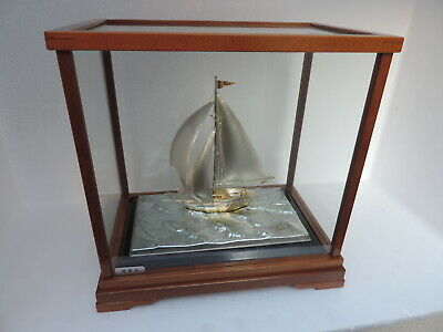Exquisite Masterly H-Crafted Japanese Solid Sterling Silver 970 Yacht Ship Japan